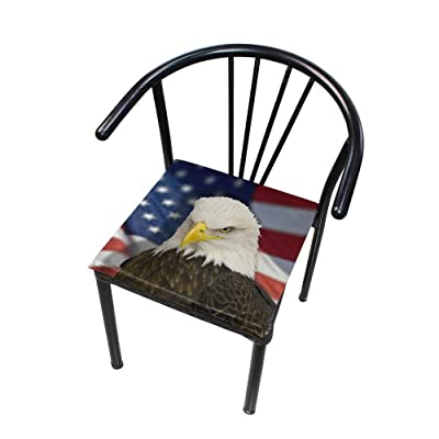 "HNTGHX Outdoor/Indoor Chair Cushion US Flag Bald Eagle Square Memory Foam Seat Pads Cushion for Patio Dining, 16"" x 16"": Home & Kitchen"