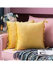 MIULEE Set van 2 fluwelen kussenslopen, kwastjes, decoratieve sierkussens met verborgen ritssluiting, bank, slaapkamer, auto