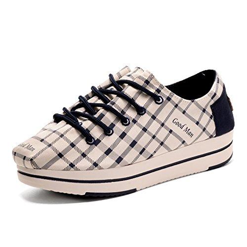 Gestreepte, Elastische Canvas Schoenen Van Tiosebon Dames, Instapper, Lage Top Sneakers Beige, Wit