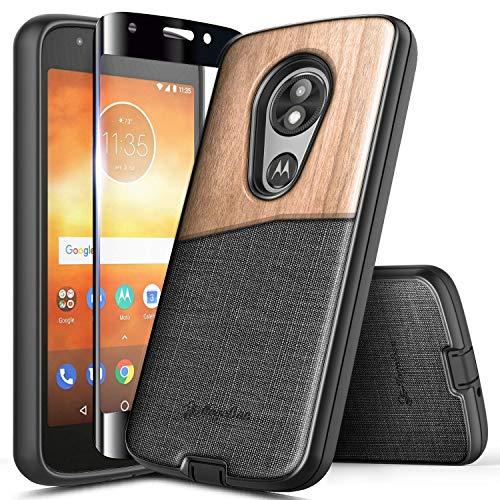 Moto E5 Play Case, Moto E5 Go/Moto E5 Cruise w/[Tempered Glass Screen Protector], NageBee Premium [Natural Wood] w/Canvas Fabrics Shockproof Durable Case for Motorola Moto E Play 5th Gen -Wood