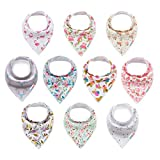 ALVABABY Baby Drool Bandana Bibs for Girls Resuable Adjustable 10 Pack Super Absorbent Baby Floral Feeding Bibs Gift Settings 10SD01