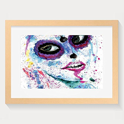 Haixia Girls Grunge Halloween Lady With Sugar Skull Make Up Creepy Dead Face Gothic Woman Artsy Blue Purple Fashion Wall Decor Wood Paint With Frame (Photo Skull Face Paint Halloween)