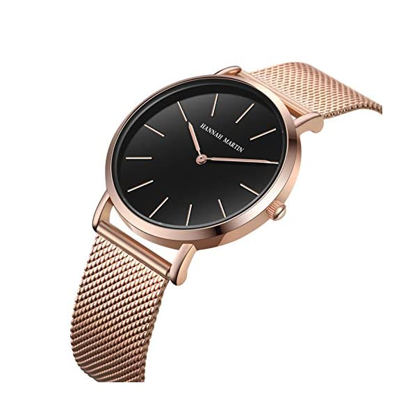 Women's Rose Gold Watch Analog Quartz Stainless Steel Mesh Band Casual Fashion Ladies Wrist Watches with Love Knot Bracelet Gift (Black Dial)