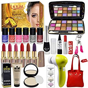 La Perla Beauty Combo Makeup Set With Gold Facial Kit,Massager & Handbag