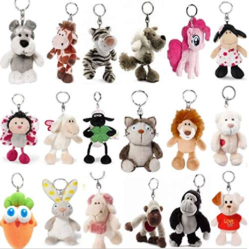 RAFGL 20Pcs/Lot NICI Jungle Brother Plush Keychains Stuffed Toys Tiger Elephant Plush Animals Phone Key Chain Bag Pendant Doll S4182 Baby Boy Must Haves 1 Year Old Boy Gifts The Favourite Toys by RAFGL