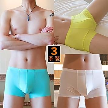 LLZNSNK Calzoncillos/Ropa Interior Para Hombres Boxer Para Hombres Summer Ice Silk Boxer Underwear Youth