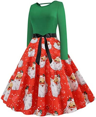Dress for Women Fashion Vintage Christmas Print Minidress Sleeveless Elegant Party Costume
