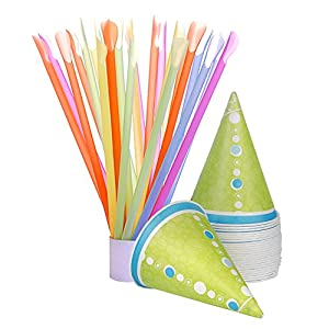 Hawaiian Shaved Ice H503-S Snowcone, 50 Cups and Spoonstraws, Multicolored