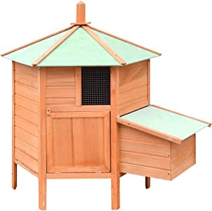 vidaXL Chicken Cage Solid Pine & Fir Wood Weather Resistant Small Animal Coop Hen Living House Egg Box