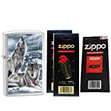 Zippo 28002 Mazzi Brushed Chrome Howling Wolves Windproof Pocket Lighter with Two Flint Card and One Wick Card