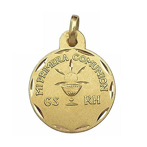 Médaille pendentif 18k 15mm or Première Communion. type de sang [6584]