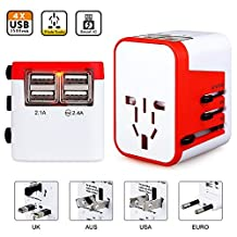 Universal World Travel Adapter Kit, All in One 4 USB Worldwide Charger - UK, US, AU, Europe Plug & Converter - Over 150 Countries & USB Power Adapter for iPhone, Android, All USB Devices Surge Protection (red)