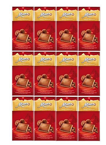 Munz Schokolade Milch Praliné   Feine Milchschokolade   12 Tafeln á 100g   Edle Schokolade   Swiss Premium Chocolate Praline Filling   Großpackung 1,2 kg Schokoladentafeln aus der Schweiz