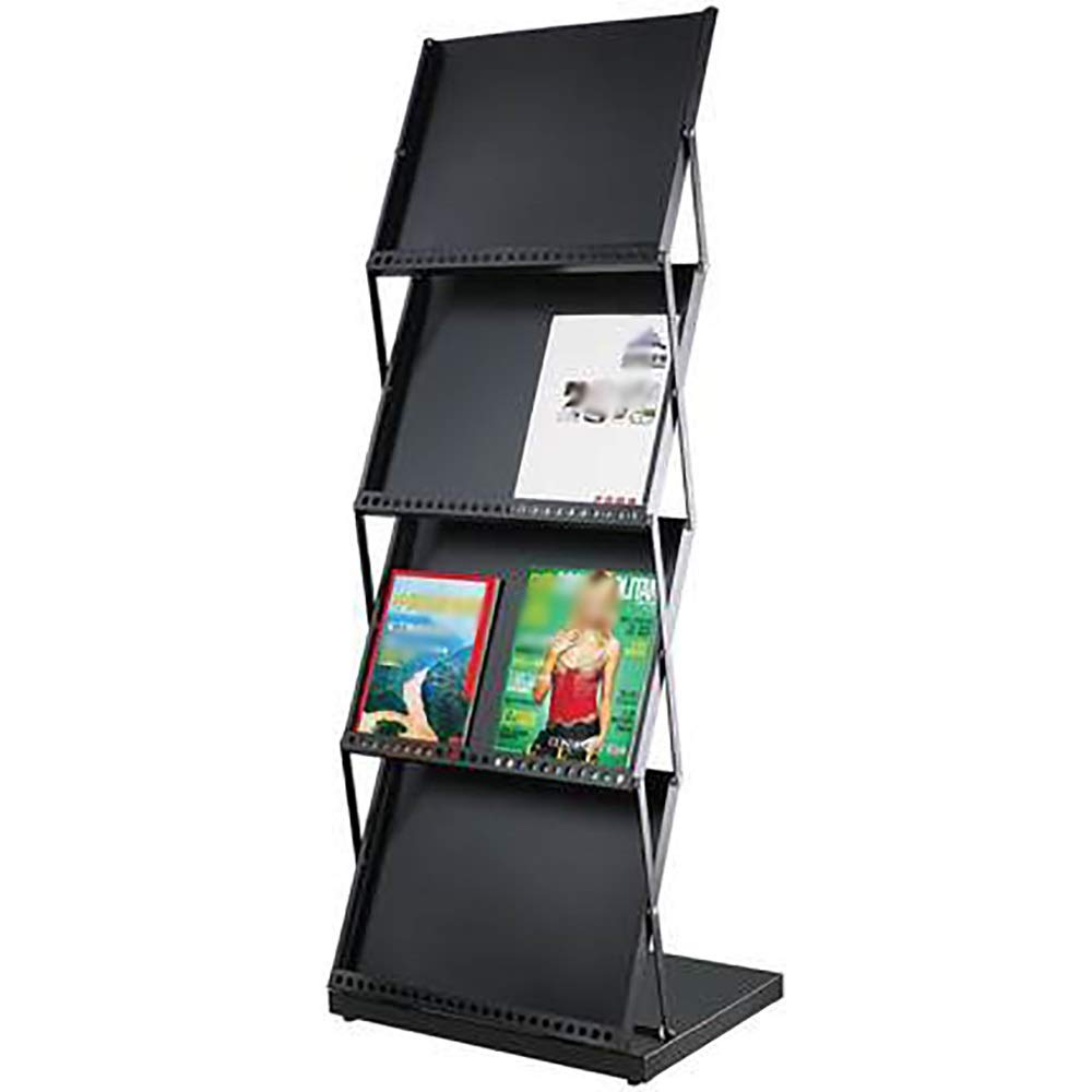 SYF Simple and Versatile Black Display Stand | Folding Magazine Rack Metal Telescopic Newspaper Rack | Brochure Frame 4 Layer Bookshelf 52x38.8x135cm A+