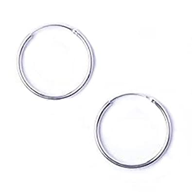 Sterling Silver 12 mm Plain Hoop Earrings 99rEcpmBNk