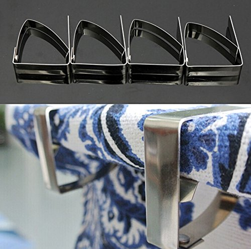 4Pcs/Set Stainless Steel Tablecloth Table Cover Clips Holder Clamps Party Picnic^