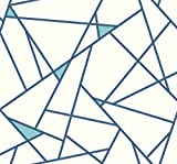 York Wallcoverings RY2701 Risky Business Geometric  Removable Wallpaper, Blue/White  - Ultra Easy