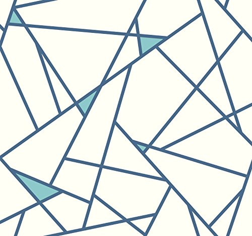 York Wallcoverings RY2701 Risky Business Geometric  Removable Wallpaper, Blue/White  - Ultra Easy