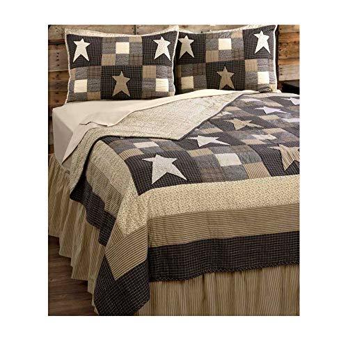 Four Seasons Quilt Shop - Primitive Star Patchwork Country Queen Quilt 4 Pc. Set - Vintage Black and Creme