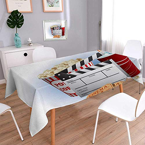 (Movie Theater Table Cover for Kitchen Soda Tickets Fresh Popcorn and Clapper Board Blockbuster Premiere Cinema Dinning Tabletop Decor 70
