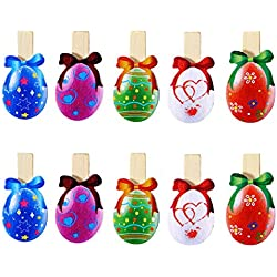 Easter Eggs Photo Clips Peg Picture Paper Wooden Clips Holder Craft Pegs Clothespins Note Memo Card Holder Easter Party Favors by OULII - 10 pack