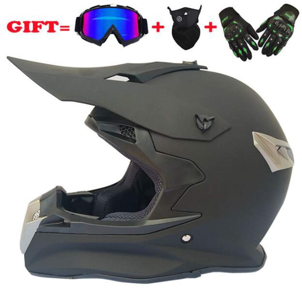 Visera de Casco de Moto de Cara Completa para Adultos Casco de Moto de Carretera de Motocross ATV Off Road Gafas//m/áscara//Guantes,A,S GAOLI Cascos de Motocross