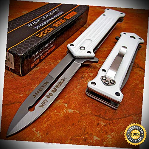 Spring Assisted Opening WHITE BATMAN JOKER Dagger Folding Pocket Sharp Knife - Premium Quality Hunting Very Sharp EMT EDC
