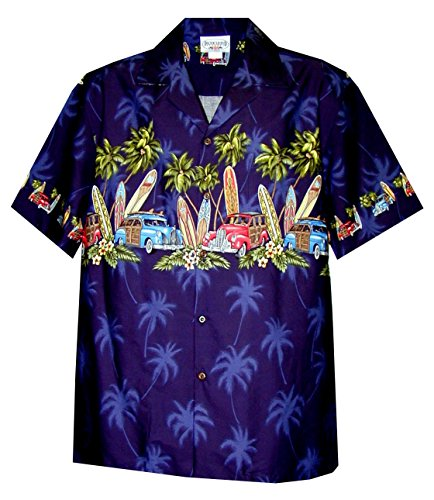Pacific Legend Men's Old Time Woodie Surfboard Hawaiian Shirt Navy Blue 4X