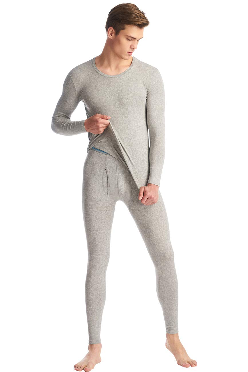 SANQIANG Men's Soft Cotton Thermal Underwear Set Top & Bottom Soft Long Johns Base Layer (US Size 2XL (Tag Reads 4XL), Grey) by SANQIANG