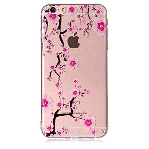 iPhone 6 6S Hülle , Leiai Modisch Kirschblüte TPU Transparent Clear Weich Tasche Schutzhülle Silikon Handyhülle Stoßdämpfende Schale Fall Case Shell für Apple iPhone 6 6S
