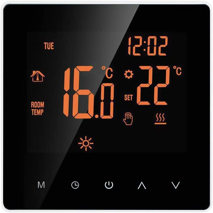 undefined Smart Thermostat Digital Temperature Controller LCD Display Touch Screen Week Programmable Electric Floor Heating Thermostat for Home School Office Hotel 16A