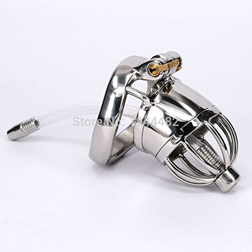 ccTina Male Chastity Device Stainless Steel Cock Cage Metal Chastity Belt With Urethral Sound Bondage Sex Toys Virginity Lock 1pcs by ccTina