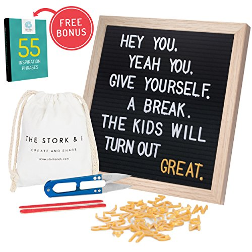 Felt Letter Board With Stand and Wall Mount, 10'' x 10'' Changeable Message Board With Oak Frame, 540 White and Gold Letters, Numbers, Emojis and Symbols, Wooden Characters Signs Letterboard  (Black) by The Stork & I