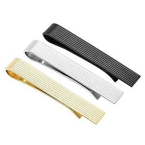 PiercingJ 3pcs Stainless Steel Exquisite GQ Classic Tie Bar Clip 1.65