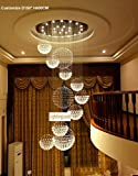 Siljoy 48″D X 137″H 20 Lights Luxury Clear Crystal Spiral Sphere Chandelier Galaxy Rain Drop Design Large Custom LED Lighting Fixture Review