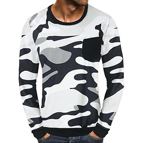 Men's Blouse-Clearance Sale!Farjing Men Casual Camouflage Pocket Long Sleeve Classic Shirt Top Blouse(L,Gray) by Farjing
