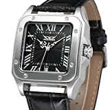 Forsining Men's Unique Fashion Leather Strap Square Automatic Self-winding Analugue Dial Collection Watch JAG8073M3S2