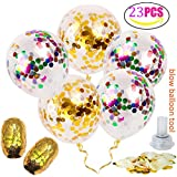 Famleaf 23pcs/set 12 Inches 10pcs Gold Confetti Balloons and 10pcs Mixed Color Confetti Balloons and 1pcs Electrostatic Cloth and 2 Roll 10m Gold Balloon Ribbon for Birthday Wedding Decorations and Party Supplies