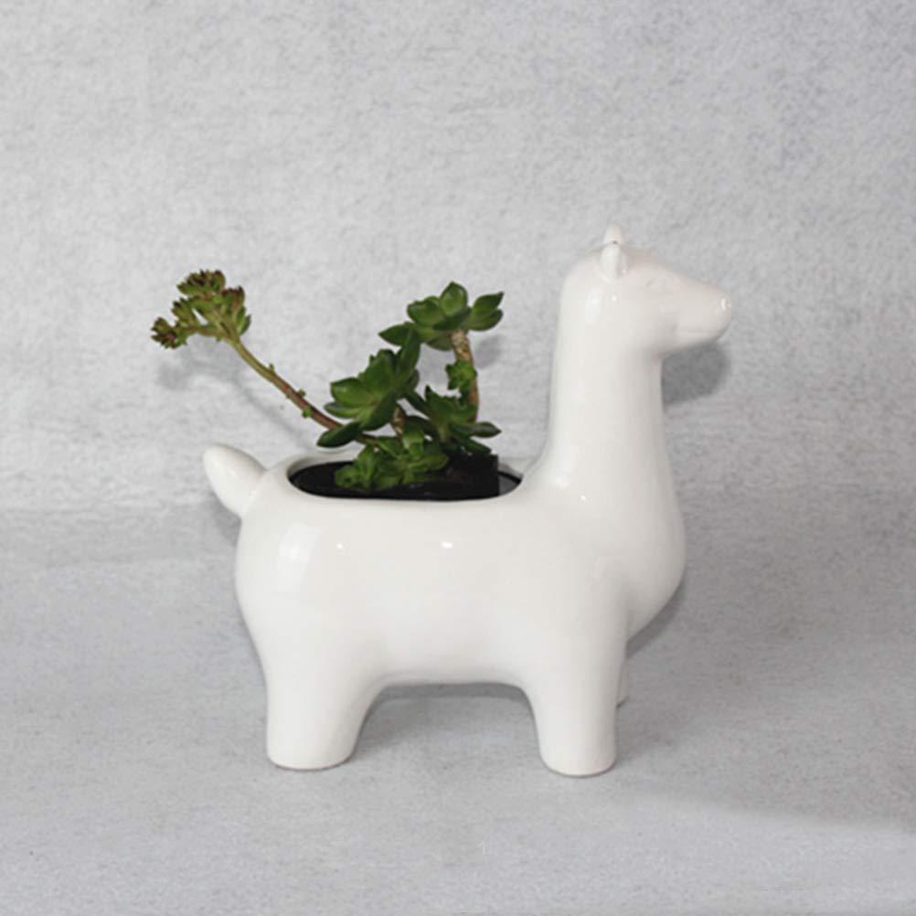 VORCOOL Dessin animé Alpaga Succulent Pot Mignon Planteur danimaux Bonsaï Cactus en Pot De Fleurs De Bureau Maison Jardin Décor Pots de fleurs Jardinage