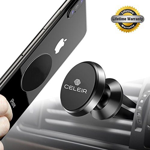 Vano Magnetic Car Air Vent Phone Mount (Black) for Car, RV or Truck Compatible with iPhone with Extra Metal Plates in Easy-to-Open Package