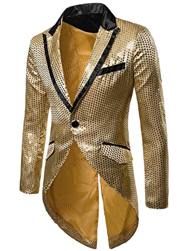 EbuyChX Slim Allover Paillette Embellished Swallow-Tailed Blazer Gold L ()
