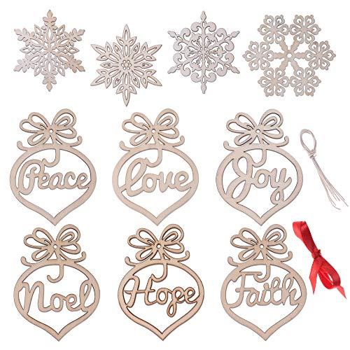 Konsait 10Pack Xmas Tree Hanging Tags Pendant Decor Wooden Ornament Hanging Snowflake Xmas Decorations Wood Embellishments Christmas Rustic Tree Hanging Ornament Accessories Ideas