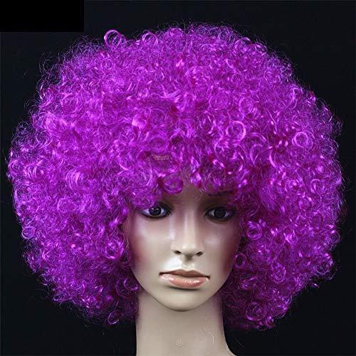 Ventaglio rotondo di capelli ricci più grande copricapo con grande parrucca (Color : Purple-A)