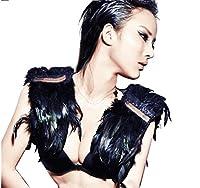 Zaki Fashion Feather Cape Stole Black Shawl Scapular Iridescent Epaulet