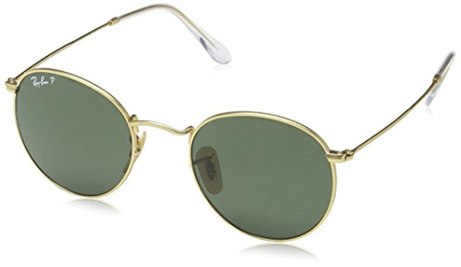 RB RB3447 Round Metal Sunglasses Matte Gold//Polarized Green 50mm /& Carekit