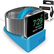 Orzly® Night-Stand pour Apple Watch BLEU - Station de Charge mode Nightstand - Station d'accueil - Support Bureau Compact HQ Compatible Apple Watch 38 mm / Apple Watch 42 mm - Avec fente pour dissimuler votre câble de recharge