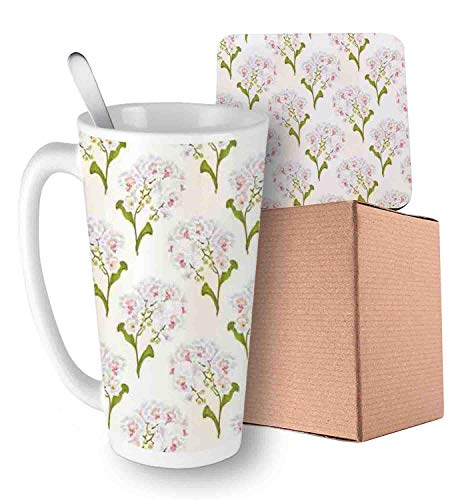 (Phalaenopsis White Flowers Tropical Plants Green Stem and Buds Pattern Olive Green Ivory Pink Ceramic Cup with Spoon & Coaster Creative Morning Mug Milk Coffee Tea Unique Porcelain Cup Mug 16oz )