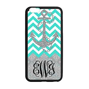Bling Anchor in Cyan & White Chevron Background With Grey European Retro Pattern Monogram Classic PoP Design Fashion Custom Luxury Cover Case With Silicon Rubber For Iphone 6 Plus
