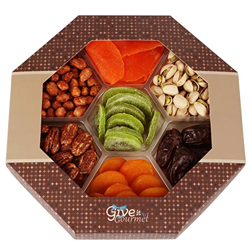 GIVE IT GOURMET, Assorted Dried Fruits and Nuts Valentines Day Gift Basket 7 Section - Delicious Dried Medjool Dates, Mango, Apricots, Kiwi, Honey Glazed Pecans, Peanuts and Roasted Salted Pistachios