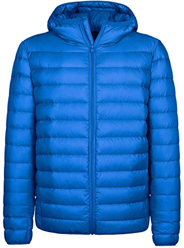 Wantdo Men's Hooded Packable Light Weight Down Jacket Medium Sapphire Blue